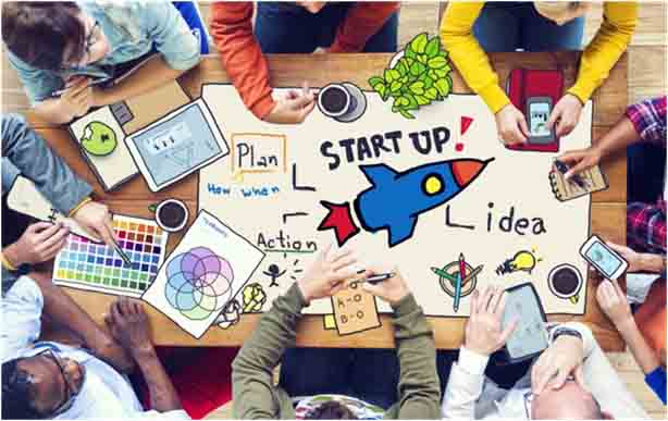 Team of staffs working in a startup to bring out creative ideas